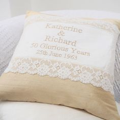 Golden Wedding Cushion by Tuppenny House Designs, the perfect gift for Explore more unique gifts in our curated marketplace. Golden Wedding Anniversary, Gold Silk, Newlyweds, Gold Wedding, Personalized Gifts, Unique Gifts, Cushions, Bridesmaid, Throw Pillows