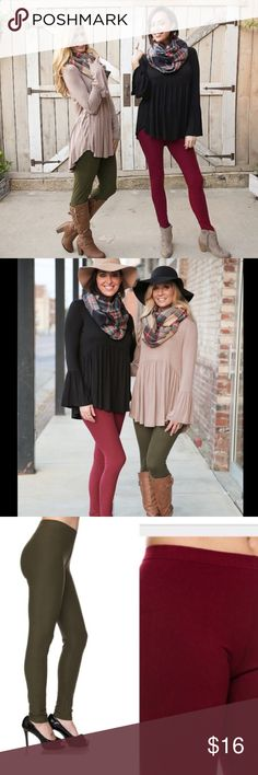 ❄️️Burgundy Soft Brushed Knit Leggings❄️️ Amazing Comfort & Style in these Burgundy Soft Brushed Knit Leggings! Super cute with a Baby Doll Tunic. These fit S-L very nicely & are favorites among buyers. Color: Burgundy. Boutique Pants Leggings