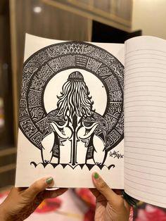 Doodle Art Drawing, Cool Art Drawings, Art Drawings Sketches, Shiva Art, Shiva Tandav, Lord Shiva, Krishna, Mandala Sketch, Mandala Drawing