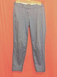 J.Crew Blue Stretch Pants Size 00 City Fit Front Zip 2 Front & Back Pockets Cott #JCrew #CasualPants