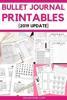 Here you can find the best 2019 bullet journal printables (free and paid) Save your time and energy by using planner printable pages Bullet Journal How To Start A, Bullet Journal Spread, Bullet Journal Layout, Bullet Journal Inspiration, Bullet Journals, Bullet Journal Free Printables, Journal Template, Planner Pages, Printable Planner