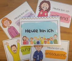 Today I feel . cards to name and talk about emotions) Emotional intelligence - teaching material in the subjects DaZ / DaF & Fachübergreifendes & Kita & Philosophie - Art Education Lessons, German Language, The Marketing, Teaching Materials, Classroom Management, Your Cards, I Card, Feelings, School