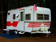 Vintage Campers Trailers, Camper Trailers, Canned Ham, Remodeled Campers, Happy Campers, Recreational Vehicles, Camping, Paint, Campsite