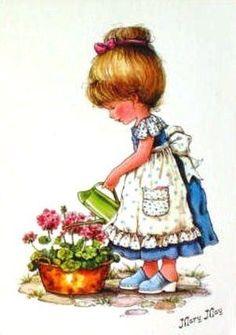 Carte Postale Enfant Avec Un Arrosoir - Série Mary May - PriceMinister Sarah Kay, Mary May, Mr Cat, Holly Hobbie, Illustrations, Cute Cards, Vintage Images, Cute Cartoon, Garden Art