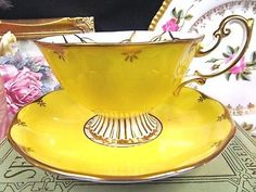ROYAL ALBERT TEA CUP AND SAUCER LARGE WIDE MOUTH FOOTED TEACUP YELLOW FLORAL