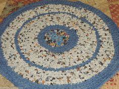 "Hand Made Crochet Rag Rug ~NEW 32"" Round Worn Denim Shabby Country! #ragrugdenim"