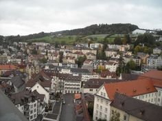 City of St. Gallen, picture take from balcony of cathedral, Switzerland :) Switzerland, Balcony, Paris Skyline, Cathedral, City, Places, Travel, Viajes, Balconies