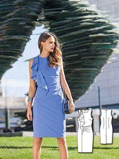Ruffled Shift Dress 03/2016 #burdastyle #sew #sewing #diy