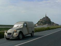 Citroen 2CV van w/ Mont Saint Michel