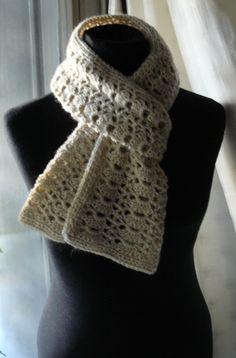 Bufanda larga color crudo, crochet