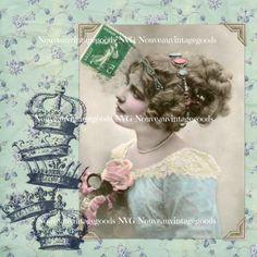 "Digital Collage Sheet, Vintage Woman, Portrait, Instant Digital Download -- Printable Artwork 8x8"" for Antique French Decor"