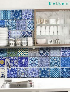 Kitchen/Bathroom Indian Blue pottery tile/wall decals : 22 designs X 2- 44 pcs