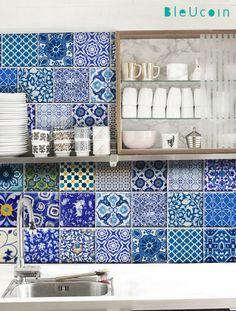 Cuisine/salle de bain Indian Blue autocollants de mur de carreaux/poterie : 22 dessins X 44 2 - PC