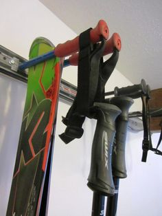 Snow Ski Storage Rack with Integrated Pole by ArtWorkingForYou