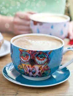 Owl cup, saucer and box by Michelle Allen (Allen Designs)