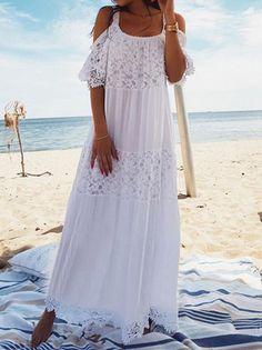 5cc8518ef10 Round Neck Half Sleeves Bohemia Maxi Dress