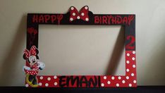 Hey, I found this really awesome Etsy listing at https://www.etsy.com/listing/279456166/minnie-mouse-photo-booth-frame-red-black