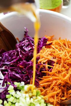 Red Cabbage And Carrot Slaw Recipe, Cabbage Slaw For Tacos, Purple Cabbage Recipes, Red Cabbage Coleslaw, Carrot Salad Recipes, Cabbage Salad Recipes, Slaw Recipes, Vegetable Recipes, Purple Cabbage Slaw