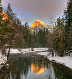 #merced river in #yosemite - reflects the half dome at sunset