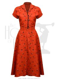 Shop for retro dresses at 20th Century Foxy.  Shown here: 40s Hostess Dress - made of vintage rayon fabric!