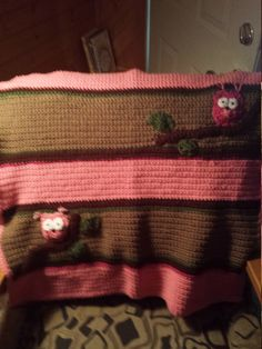 Pink & Brown Owl Crotchet Blanket by familycraftstore on Etsy