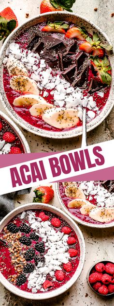 Packed with antioxidants and deliciously sweet variety of berries, seeds, and fruit toppings, you can make an Acai Bowl in minutes with just 5 ingredients. #acaibowl #smoothies #healthyrecipes