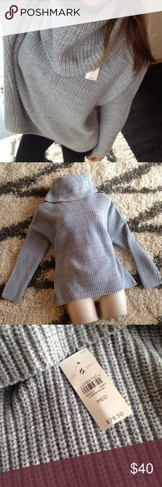 NWT Loft Cable Knit Sweater Baby Blue Size M So cozy! LOFT Sweaters Cowl & Turtlenecks