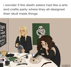 "kayadraws: ""I bet the upper level death eaters hogged all the quality supplies. ""<<<Lucius wanted to use a bunch of glitter, but Fenrir broke into it first Harry Potter Comics, Fanart Harry Potter, Harry Potter Puns, Harry Potter Universal, Slytherin, Hogwarts, Drarry, Dramione, Fandoms"