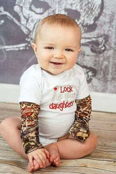 Embroidered tattoo sleeve onesie/t-shirt--Lock up Your Daughters on Etsy, $35.00