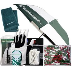 "Chambers Bay Holiday Gift Pack:  (1) 500 Pk. 2 3/4 in. Red, White & Green Holiday Tees (1) Dual Bristle Club Brush (1) One Size Fits All Mens Left Handed Golf Glove (For a right handed golfer) (1) Zero Friction 30pk 3 1/4 White Tees (1) LGB Green/White Poker Chip (1) LGB Green Embroidered Towel (1) LGB Hunter Green 62"" Umbrella. Re-pinned by www.apebrushes.com. GREENS BRUSHES THAT REALLY WORK!"