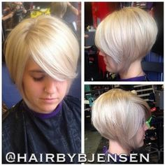 Stacked and layered bob hairstyle in blonde