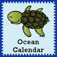 Free 2015 Ocean Calendar - ABC pattern cards, 6 ocean animal cards and single page calendar sheet - 3Dinosaurs.com