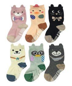 Another great find on #zulily! Green Peek-A-Boo Animals Non-Slip Six-Pair Socks Set #zulilyfinds
