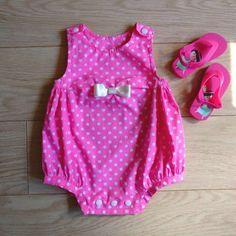Pink polka dot baby romper for sale at kelakarclothing.etsy.com! #handmade #babyromper #pinkclothes #pinkbaby #polkadots #polkadotsclothes #polkadotsbaby #pinkonesie #pinkromper #pinkplaysuit #babyshower #babyshowergift #newbornclothes #newborn #newbornbaby