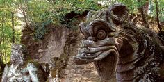 More from Bomarzo, Italy (60 miles north of Roma) The Garden of Monsters was built during the 16th century by Italian mercenary Pier Francesco Orsini as a memorial site for his beloved wife Guilia.
