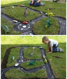 Learn how to make a Backyard Race Car Track for the kids. This is an easy DIY and it will keep the family entertained for hours. Backyard For Kids, Diy For Kids, Cool Kids, Backyard Ideas, Backyard Play, Modern Backyard, Diy Planters, Garden Planters, Outdoor Play