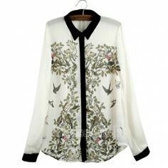 Fashion Women's Lapel Long Sleeve Contrast Color leiothrix Pattern Flower Shirt Blouse
