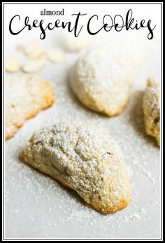 "This Almond Crescent Cookies recipe is light, crumbly, not too sweet and perfect for coffee or Christmas. From the ""Dorie's Cookies"" cookbook by Dorie Greenspan. Delicious Cookie Recipes, Best Cookie Recipes, Best Dessert Recipes, Sweets Recipes, Yummy Cookies, Easy Desserts, Baking Recipes, Bar Recipes, Crescent Cookie Recipe"