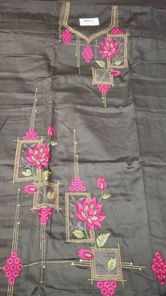 Embroidery Suits Punjabi, Embroidery On Kurtis, Hand Embroidery Dress, Kurti Embroidery Design, Embroidery Neck Designs, Embroidery Saree, Embroidery Fashion, Machine Embroidery, Salwar Neck Designs