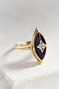 Urban Renewal Vintage Vintage 1950s Onyx + Diamond Ring