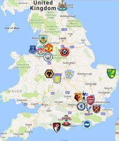 2019 Premier League Map England Source by sportleaguemaps. Premier League Logo, Premier League Soccer, Soccer League, World Football League, Football Team Logos, Football Stadiums, Football Soccer, English Football Teams, Fifa
