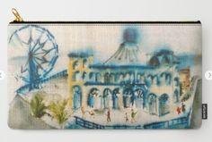 Santa Monica Pier Carry-All Pouch by laurimatisse Matisse, Santa Monica, Coin Purse, Pouch, Tote Bag, Medium, Fun, Bags, Decor