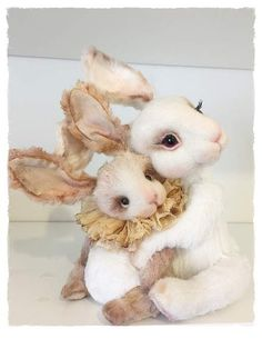 Just Love By Sadovska Tetiana  - Two cute rabbits)Made from viscose.Big-20 cm, small -10 cm. It's coupl , butpossibly buy only small or onlybig rabbit. Small-130$,big-160$ Very very cute couple )))