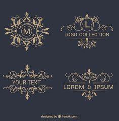 ornamental-logos Free Elegant Design Elements to Add Class to Your Work Logo Design, Web Design, Monogram Design, Vector Design, Graphic Design, School Doodle, Logo Boutique, Logo Fleur, Etiquette Vintage