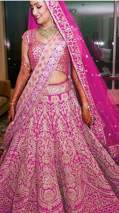 Get yourself dressed up with the latest lehenga designs online. Explore the collection that HappyShappy have. Select your favourite from the wide range of lehenga designs Pink Bridal Lehenga, Designer Bridal Lehenga, Indian Bridal Lehenga, Bridal Gowns, Lehenga Wedding, Wedding Dress, Indian Bridal Outfits, Indian Bridal Wear, Indian Dresses