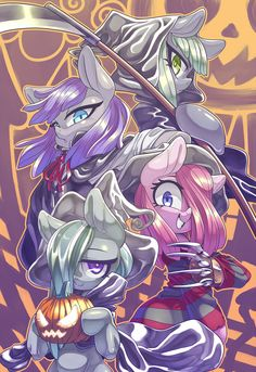 Halloween: Limestone as darl mower, Maud as vampire, Marble as witch and Pinkie as Pinkamena Pinkie Pie, Marble Pie, Mlp Creepypasta, Nightmare Night, My Little Pony Cartoon, Dc Anime, Cute Ponies, Mlp Fan Art, Pony Drawing