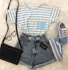 Outfits, girl outfits, cute summer outfits, cute summer shirts, outfits for Cute Casual Outfits, Girly Outfits, Cute Summer Outfits, Short Outfits, Vintage Outfits, Blue Outfits, Teen Fashion Outfits, Cute Fashion, Outfits For Teens