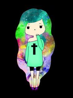 (Credit to @MikaylaTondreau) What do you guys think of my galaxy chibi girl?