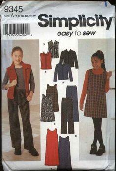 Simplicity Sewing Pattern 9345 Girls Size 7-16 Easy Wardrobe Jumper Pants Jacket Vest  $8.99