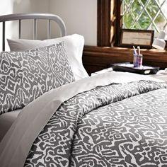 Urban Ikat Organic Bedding Bundle, Grey | PBteen  dream dorm bedding